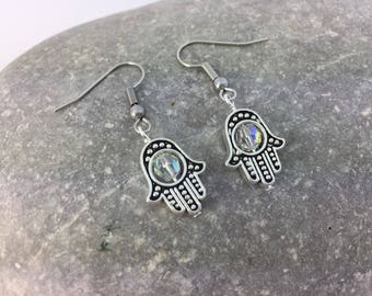 Hamsa Hand Dangle Earrings with Swarovski Crystal