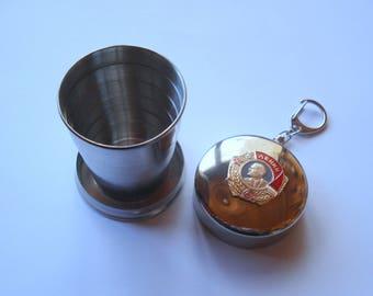 Soviet Folding Drinking Cup/Lenin Soviet Badge/USSR/ Soviet Souvenir/Unused