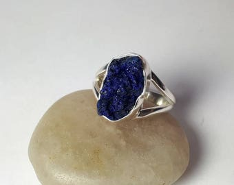Raw lapis lazuli ring,rough, size 6.5, unique ring, free shipping,  view link to purchase resizing below in item details