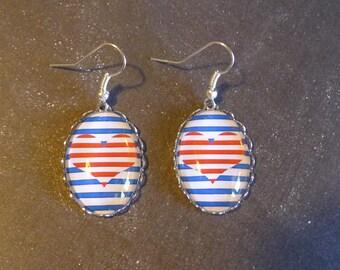 Red heart Navy Blue Silver earrings