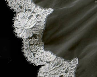 "AUTHENTIC FRENCH ALENÇON Lace Sample - White ""Old Rose Pattern Motif"""