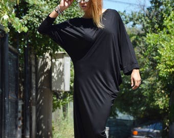 Хеу Asymmetric Sleeveless Black Long Dress, Casual Oversize Sexy Dress, Plus Size Extravagant Dress by SSDfashion
