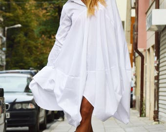 Sexy White Cotton Maxi Shirt, Extravagant Loose Shirt, Oversized Long Tunic Top by SSDfashion