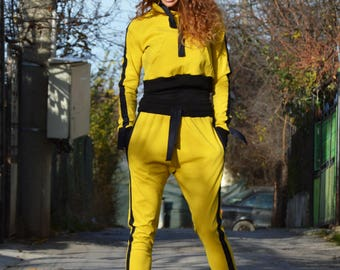 Women Mustard Hoodie Set, Extravagant Sport Drop Crotch Pants, Hooded Sweatshirt, Maxi Elegant Top by SSDfashion