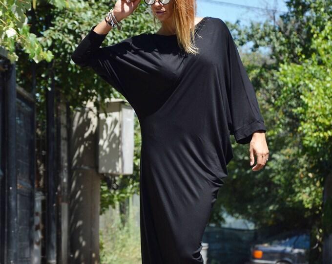 Хеу Asymmetric Sleeveless Black Long Dress, Casual Oversize Sexy Dress, Plus Size Extravagant Dress by SSDfashion