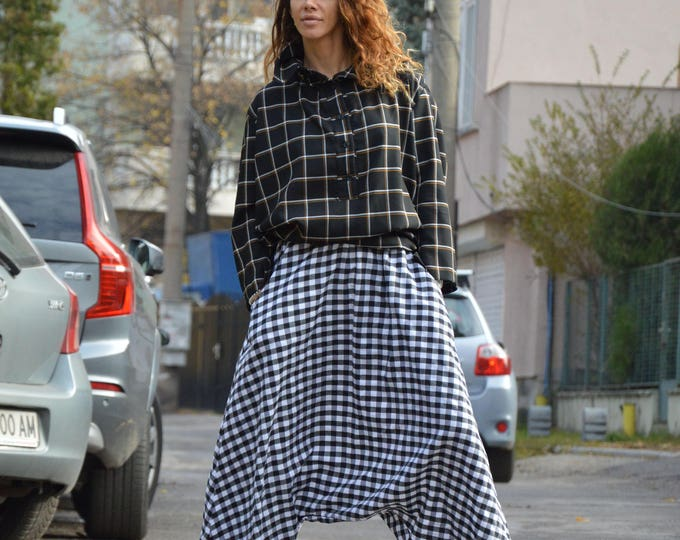 Black and White Plaid Harem Pants, Loose Casual Wool Cotton Trousers, Extravagant Wide Leg Plaid Pants by SSDfashion