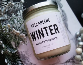 Winter Candle - Handmade Soy Candle - Christmas Candle - Holiday Gift Idea- by Etta Arlene Candles -15 oz Jar