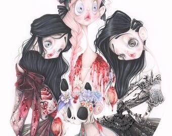 gothic bluebeard pop surrealism haute couture fashion illustration art print