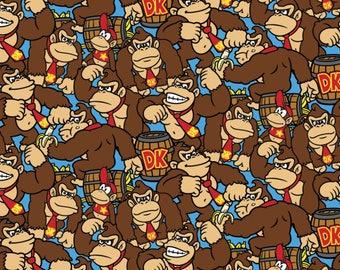 Donkey Kong Allover Cotton Woven, DK Fabric, Donkey Kong, Ninetendo Fabric, Donkey Kong Jr, Donkey Kong Original, Cotton Fabric, Baby Fabric