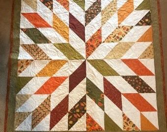 NEW - Autumn Starburst Lap Quilt or Throw with metallic bavkground  - Homemade
