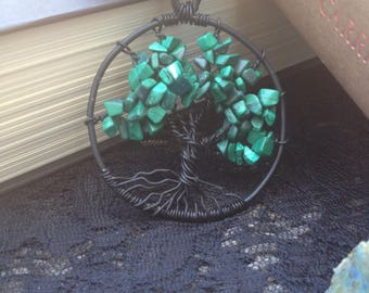 Tree of Life with Malachite Chips Tree of Life Wire Wrap Pendant Necklace