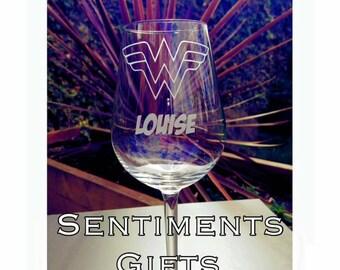 Engraved Wonder Woman Wine Glass - Personalised