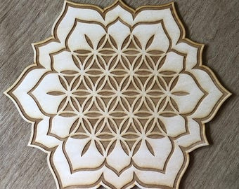 Flower of Life Lotus Crystal Grid - Lotus Crystal Grid - 3, 6, 9, or 12 Inches - Wooden Crystal Grid - Sacred Geometry - Wood Crystal Grid