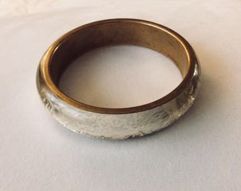 1960s Vintage Clear Lucite and Silver Foil Bangle Bracelet