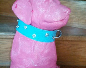 4/37.5-30.5 cm dog sky blue, brown leather and rhinestone necklace