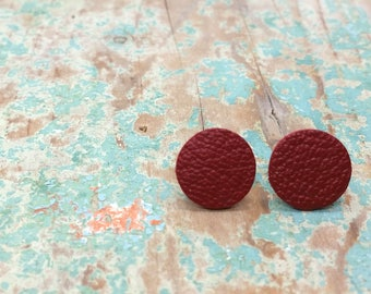Red genuine leather stud earrings