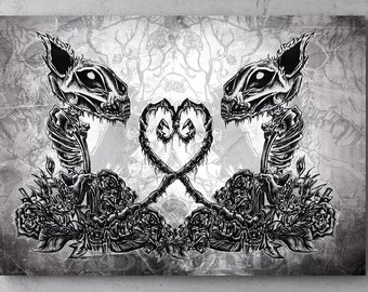 "Canvas print ""Pussycats"", 20 cm x 30 cm, absurd art print, horror, cats, love, Skullanimal, cats, zombie, gothic"