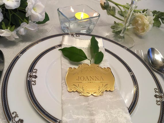 Engraved table settings Engraved Acrylic Place Cards Wedding place cards Wedding Signs Table Name Cards Etched Save the date Place Settings