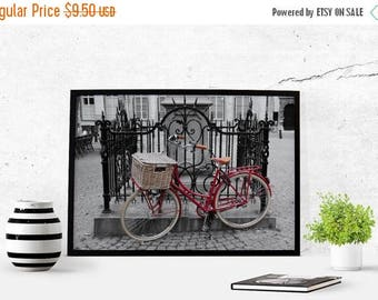 SALE Bicycle Color Pop Antwerp Photography Download Antwerp Photography Instant Download Poster Art Wall Art Photography Black and White Red