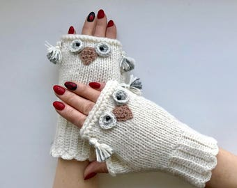 Owl Knitted Fingerless Gloves   Owl  Gloves  Arm Warmers   Gift Ideas  For Her  Clothing And Accessories Hand Made Gloves