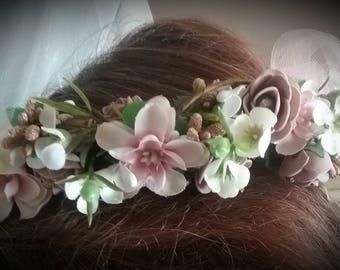 Woodland Flower Crown, Wedding Crown, Bridal Crown,Bridesmaid Crown,Flower Girl Crown,Blush Flower Crown, Autumn ,Rustic Floral Wreath,Fall