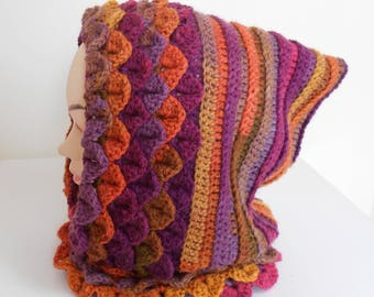 READY TO SHIP, Handmade crochet hooded cowl , Crochet hooded scarf, snood made in dragon scale stitch in acrylic