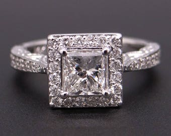 14k White Gold 1.50ct Princess Cut Round Diamond Engagement Halo Love Ring