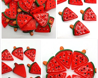 Red Watermelon, Fruit Resin Flatback, ScrapbookIng for phone/craft/Jewelry Parts, Fruit Necklace WM-718