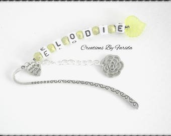 First name, personalized message, yellow and silver bookmark
