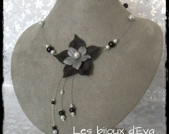 Necklace with a black and gray silk flower