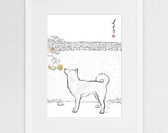 Jindo Gae Korea(Small) Art Print Poster, International Doggy Sumi-e Painting Illustration Asian Korean Kiwa Zen Ink Drawing Dog Lover