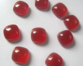 10-P Wholesale Lot Of  Natural Red onyx cushion Shape Loose Gemstone Cabochon for jewelry