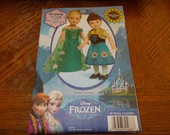 "Simplicity Pattern 1088 ~ 18"" Doll Clothes ~ Disney FROZEN Anna & Elsa Outfits"