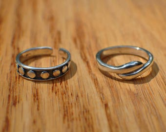Sterling silver Toe ring or midi ring, one sizable, one size 3 3/4 US, handmade