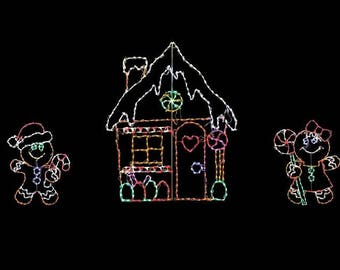 Great Looking Gingerbread Scene Wireframe Outdoor Holiday Yard Decoration Commercial Quality