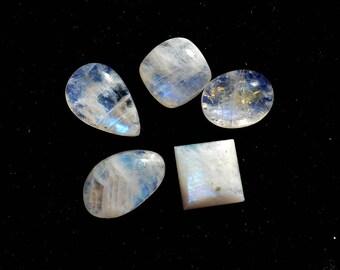 54 Cts Natural Blue Fire/Flash Rainbow Moonstone Gemstone  Cabochon 5 Pieces Multi Shape White Rainbow Moonstone Wholesale Lots R10367