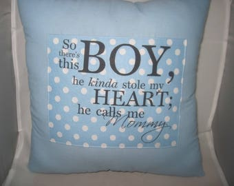 baby boy gift,unique pillow,nursery items,baby shower gift,so there's this boy,baby shower favors