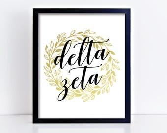 DZ Delta Zeta Gold Wreath Ready To Frame Poster