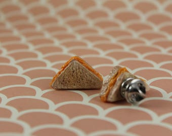 Miniature Cheesy Grilled Cheese Slice Pins/ Polymer Clay Fake Food/ Warm Comfort Food Flair