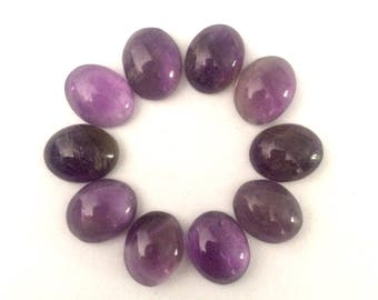 10x8 mm natural amethyst oval cabochons 10 pieces lot