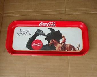 vintage coke serving tray,coke cowboy metal tray,western decor,drink coke,cowboy kitchen home decor