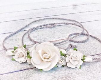 Baby Flower Crown, Tieback Headband, Photo Prop, Baby Tieback, White Headband, Newborn Headband, Girls Flower Crown, Toddler Flower Crown