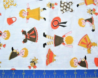 Vintage Paperdoll Fabric*Doll Fabric with Clothes*1960's Novelty Fabric*1 5/8 Yards*Little Girl Fabric*White*Gold*Orange*Brown*Out of Print