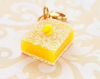 Handmade Lemon Square Charm - Polymer Clay Food Lemon Bar Charm - Miniature Food Jewelry - Lemon Jewelry - Lemon Bar