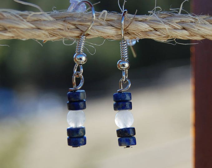 Blue Lapis & Moonstone Earrings
