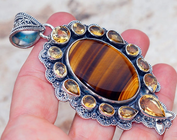 Featured listing image: Genuine Tiger Eye with Citrine   set in Solid 925 Sterling Silver Pendant