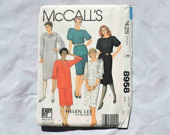 McCall's 8958 Helen Lee Sewing Pattern Dress Top Skirt Size 14 1/2 Vintage 1984