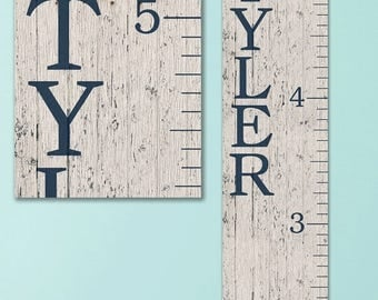 6 Foot Wall Ruler, Oversized Canvas Growth Chart Ruler, Wooden Height Chart, Wood Growth Chart, Height Chart, Boy Growth Chart - GC0100N