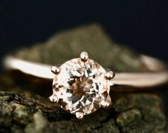 Betty 6mm/1.00 Carats Round Cut Morganite 14K Yellow Gold Solitaire Engagement Ring Anniversary Ring (Bridal Wedding Set Available)