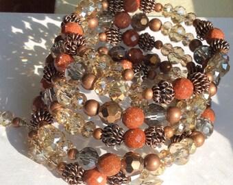 Gold stone Copper Wrap Bracelet, Crystal Copper Bracelet, Crystal Wrap Bracelet, Goldstone Copper Bracelet, Memory Wrap bracelet, Coil wrap